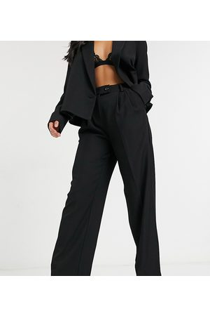 Y.A.S Suit wide leg pants with tab button up waist in black