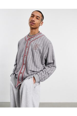 ASOS Oversized baseball sweatshirt with chest and back embroidery in grey stripe-White