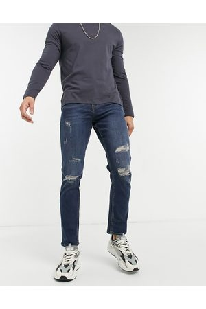 New Look Slim jeans with rips in dark blue wash