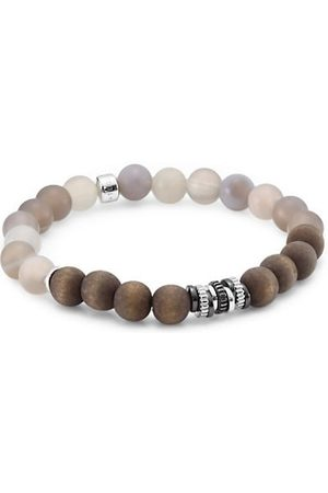 Tateossian Men Bracelets - Agate and Silver Tri-Tone Bracelet