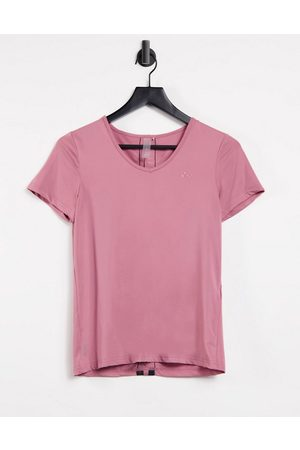 Only Play Bako v-neck short sleeve training tee in mesa rose-Pink