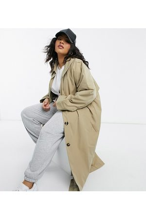 ASOS ASOS DESIGN Curve boyfriend trench with quilted liner in stone