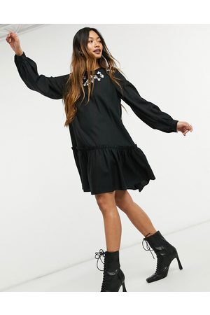 & OTHER STORIES & embroidered detail mini smock dress in black