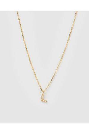 Izoa Women Necklaces - Pearl Letter L Necklace - Jewellery Pearl Letter L Necklace
