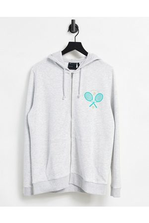 ASOS Oversized zip up hoodie with Miami chest print-White