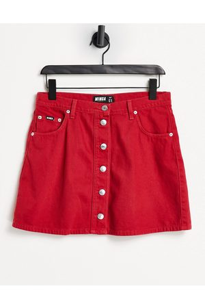 Minga London a-line mini denim skirt in red with contrast buttons