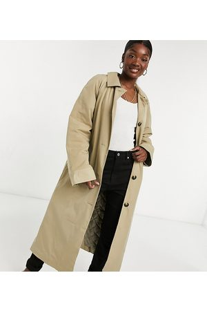 ASOS ASOS DESIGN Tall boyfriend trench with quilted liner in stone