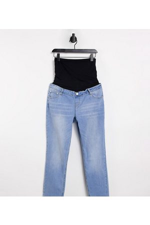 Glamorous Straight leg jeans with over the bump band-Blue
