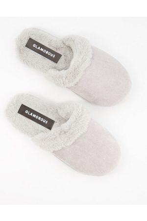 Glamorous Fluffy slippers in grey