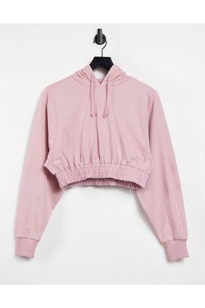 ASOS 4505 cropped hoodie with elasticated waist-Brown