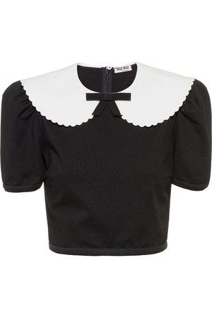 Miu Miu Women Crop Tops - Scalloped-collar cropped blouse