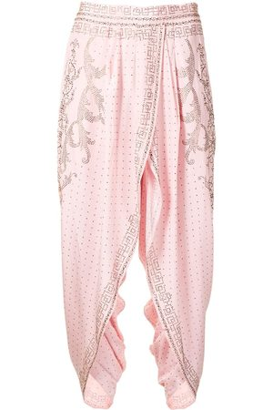 Camilla Women Pants - Crystal-embellished cropped trousers