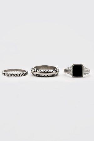 Boohoo Men Rings - Mens 3 Pack Roman Ring Set