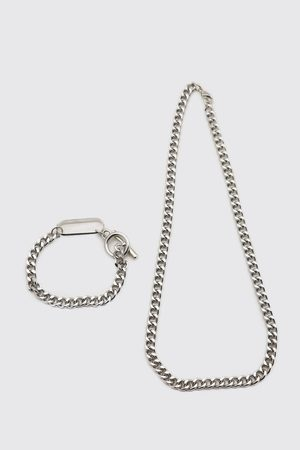 Boohoo Men Bracelets - Mens Chunky Chain And Bracelet Set With Toggle