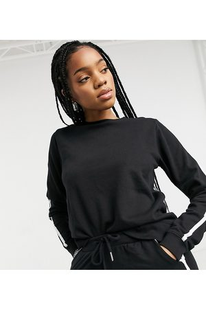 ASOS ASOS DESIGN Tall tracksuit sweatshirt / basic trackies with contrast binding in organic cotton in black