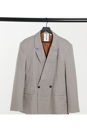COLLUSION Unisex oversized double breasted dad blazer in brown heritage check