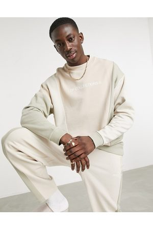 ASOS Co-ord oversized sweatshirt with cut and sew in neutral-Beige