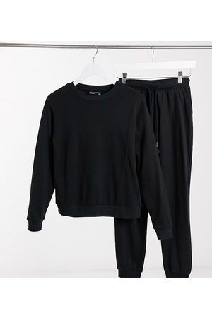 ASOS ASOS DESIGN Petite organic cotton tracksuit ultimate sweat and trackies with tie in black