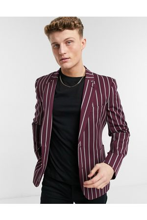 ASOS Skinny blazer with wide stripe and gold button in burgundy-Red