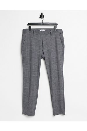 Only & Sons Pants in slim fit grey check-Black
