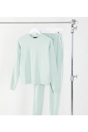 ASOS ASOS DESIGN Tall organic cotton tracksuit sweat and basic trackies with contrast binding in sage green-Black