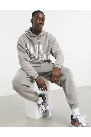 ASOS Co-ord oversized hoodie with chest logo in acid wash pink grey