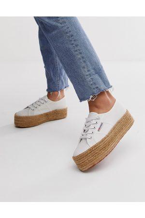 Superga 2790 Cotrope espadrille flatform sneakers in white canvas