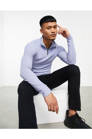ASOS Co-ord muscle fit turtleneck long sleeve t-shirt in blue rib