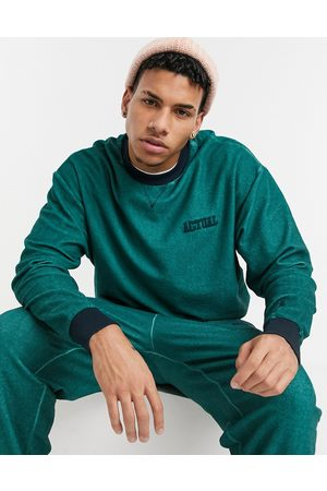 ASOS Co-ord oversized sweatshirt in teal reverse loopback with wash and embroidery-Green