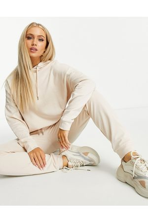 ASOS Tracksuit hoodie and slim trackies with tie in organic cotton in cream