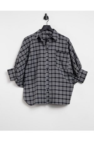 ASOS Oversized shirt with 3/4 volume sleeves in mono check-Multi