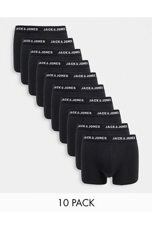 Jack & Jones 10 pack trunks with rainbow waistband in black
