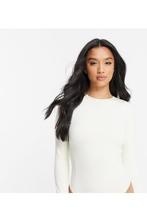 ASOS 4505 Petite long-sleeved yoga body with contour seaming-White