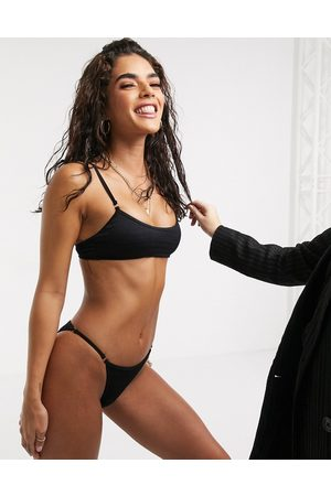 South Beach Textured Bralette Bikini Top and Skimpy Bikini Bottom Set-Black