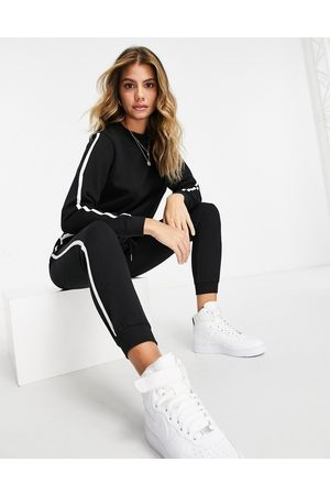 ASOS Tracksuit sweat / basic trackies with contrast binding in organic cotton in black