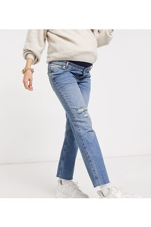 ASOS ASOS DESIGN Maternity high rise stretch 'effortless' crop kick flare jeans in midwash with thigh rip and over the bump waistband-Blue