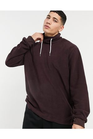 Soul Star Mix and match funnel fleece sweatshirt in -Red