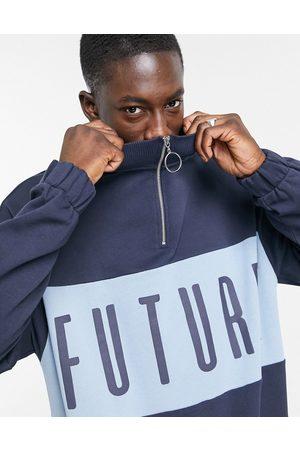 ASOS Oversized half-zip sweatshirt in colour-block-Navy
