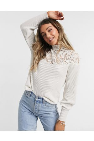Morgan Long-sleeved top with lace detail in white