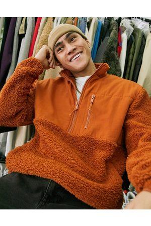 ASOS Oversized teddy borg sweatshirt with half zip & cotton panels in brown-Tan