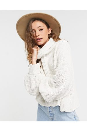 Free People Be Yours funnel neck balloon sleeve jumper in cream