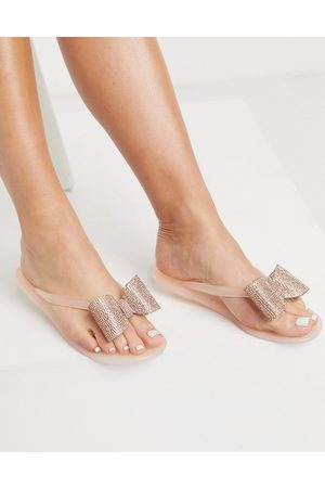 ASOS Fatima thongs with embellished bows in rose gold