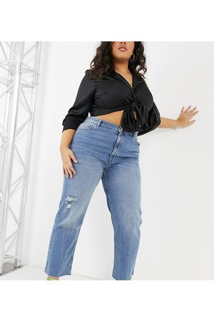ASOS ASOS DESIGN Curve high rise stretch 'effortless' crop kick flare jeans in midwash with thigh rip-Blue