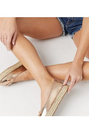 ASOS Wide Fit Jojo bow ballet espadrilles in rose gold