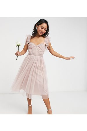 ANAYA Anaya With Love Petite Bridesmaid tulle frill sleeve midi dress in pink