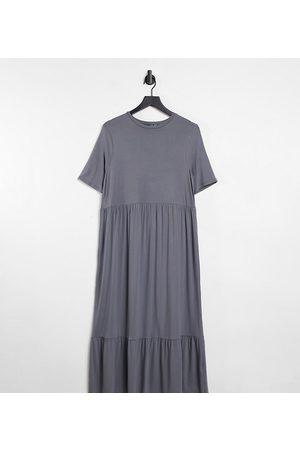 ASOS ASOS DESIGN Tall tiered smock t-shirt midi dress in grey