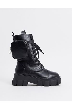 Public Desire Intention chunky lace up boots with removable pouch in black