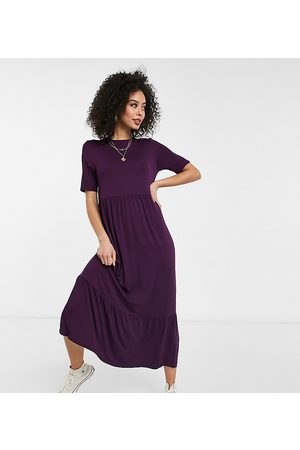 ASOS ASOS DESIGN Tall tiered smock T-shirt midi dress in dark purple