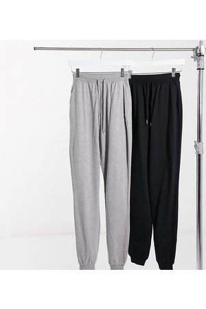 ASOS ASOS DESIGN Tall basic trackies with tie 2 pack in black and grey-Multi