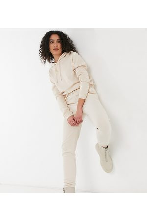 ASOS ASOS DESIGN Tall tracksuit hoodie / slim trackies with tie in organic cotton in cream